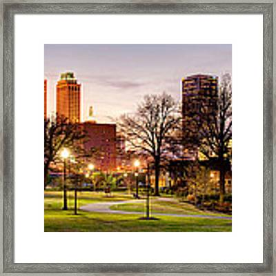 Lighted Walkway To The Tulsa Oklahoma Skyline Framed Print by Gregory Ballos