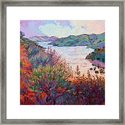 Lights On Whale Rock Framed Print by Erin Hanson