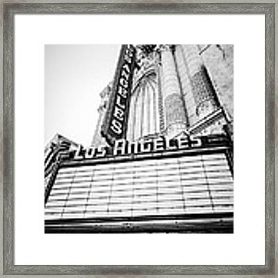 Los Angeles Theatre Sign In Black And White Framed Print