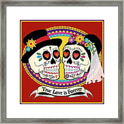 Los Novios Sugar Skulls Framed Print