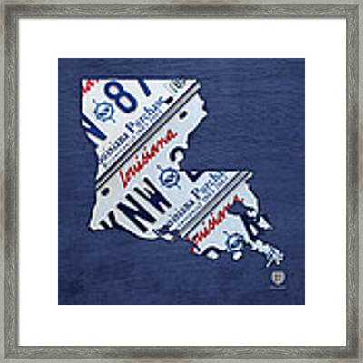 Louisiana State License Plate Map Framed Print by Design Turnpike
