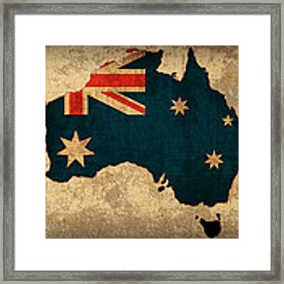 Map Of Australia With Flag Art On Distressed Worn Canvas Framed Print