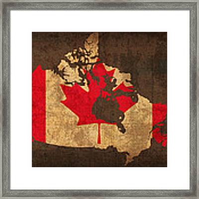 Map Of Canada With Flag Art On Distressed Worn Canvas Framed Print