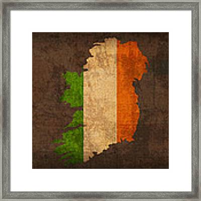 Map Of Ireland With Flag Art On Distressed Worn Canvas Framed Print by Design Turnpike