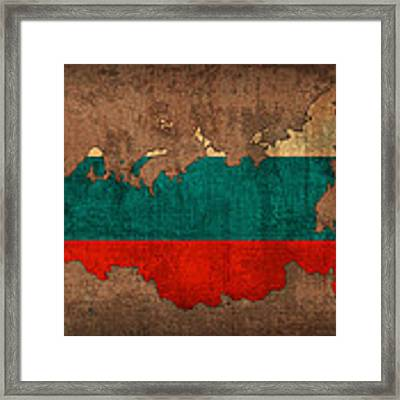 Map Of Russia With Flag Art On Distressed Worn Canvas Framed Print