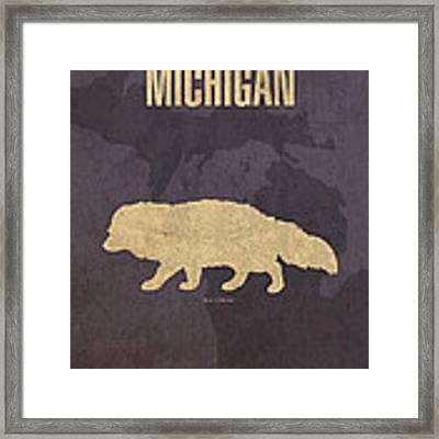 Michigan State Facts Minimalist Movie Poster Art  Framed Print