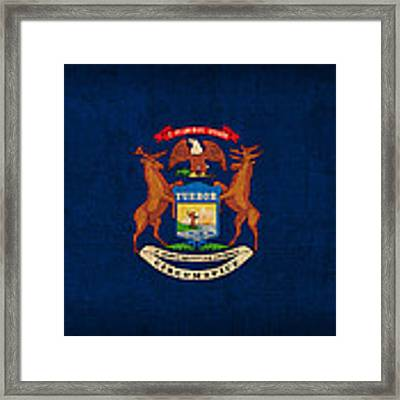 Michigan State Flag Art On Worn Canvas Framed Print