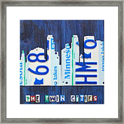 Minneapolis Minnesota City Skyline License Plate Art The Twin Cities Framed Print