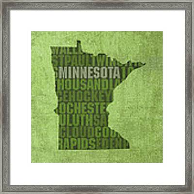 Minnesota Word Art State Map On Canvas Framed Print