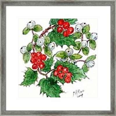 Mistletoe And Holly Wreath Framed Print