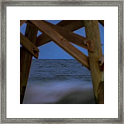 Moon Rise Under Pier Framed Print by Francis Trudeau