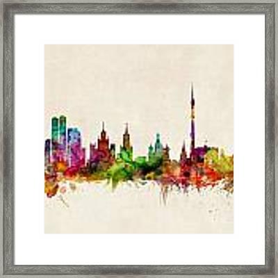 Moscow Skyline Framed Print by Michael Tompsett