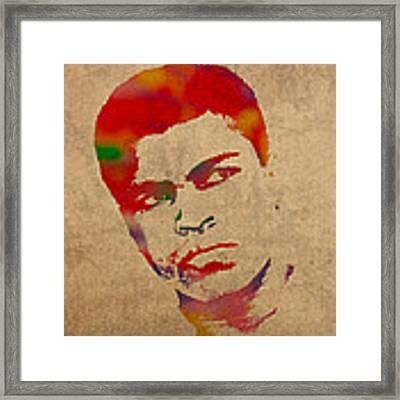 Muhammad Ali Watercolor Portrait On Worn Distressed Canvas Framed Print