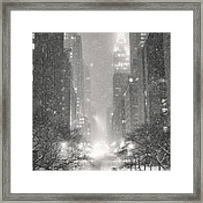 New York City - Winter Night Overlooking The Chrysler Building Framed Print by Vivienne Gucwa