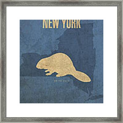 New York State Facts Minimalist Movie Poster Art  Framed Print