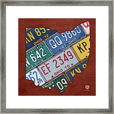Ohio State Map Made Using Vintage License Plates Framed Print by Design Turnpike