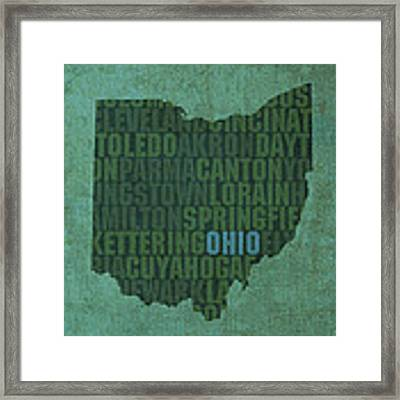 Ohio State Word Art On Canvas Framed Print