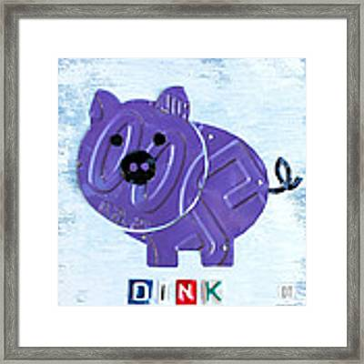 Oink The Pig License Plate Art Framed Print