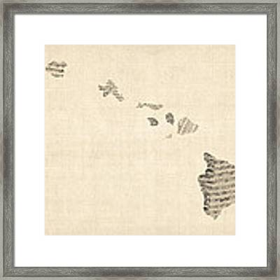 Old Sheet Music Map Of Hawaii Framed Print