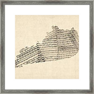 Old Sheet Music Map Of Kentucky Framed Print