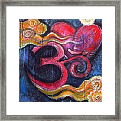 Om Heart Of Kindness Framed Print by Laurie Maves ART
