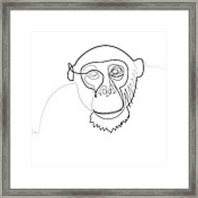 Oneline Monkey Framed Print