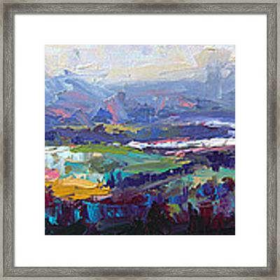 Overlook Abstract Landscape Framed Print by Talya Johnson