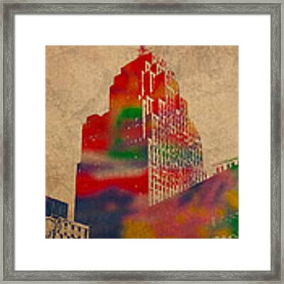 Penobscot Building Iconic Buildings Of Detroit Watercolor On Worn Canvas Series Number 5 Framed Print