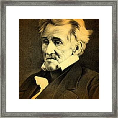 President Andrew Jackson Portrait And Signature Framed Print