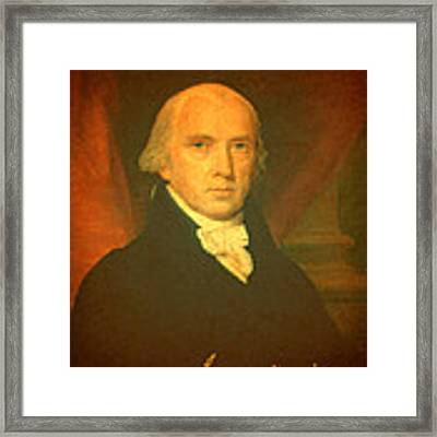 President James Madison Portrait And Signature Framed Print