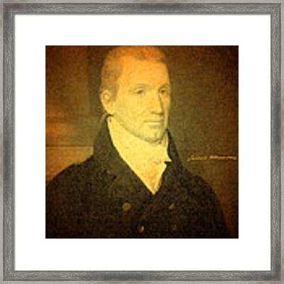 President James Monroe Portrait And Signature Framed Print by Design Turnpike