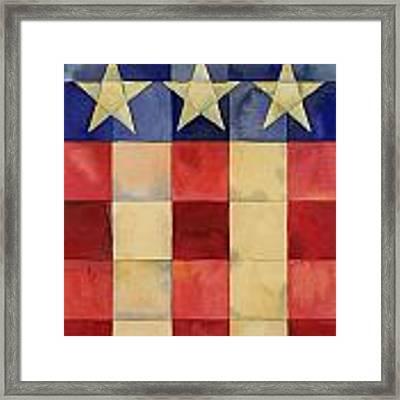 Quilted Flag Vertical Framed Print