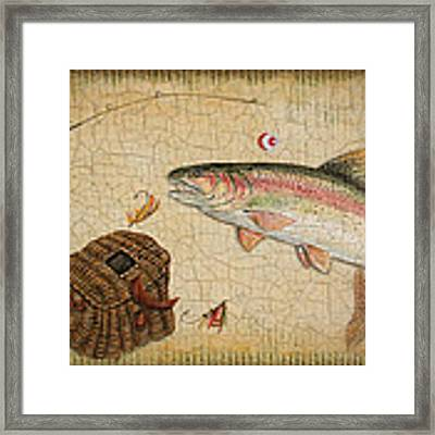 Rainbow Trout-basket Weave Framed Print by Jean Plout