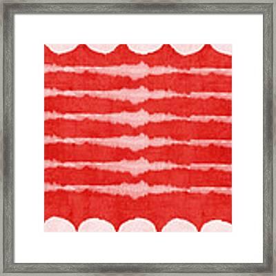 Red And White Shibori Design Framed Print