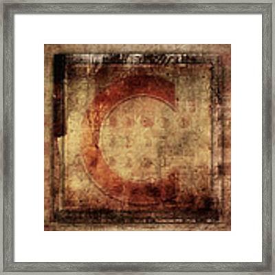 Red C Squares Framed Print