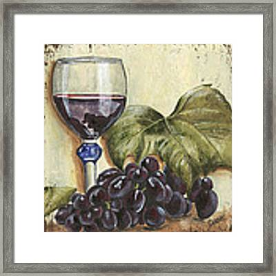 Red Wine And Grape Leaf Framed Print by Debbie DeWitt