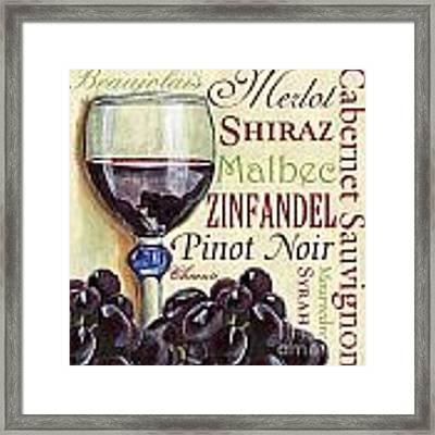 Red Wine Text Framed Print by Debbie DeWitt