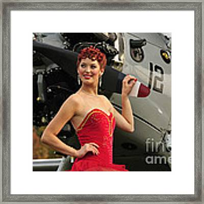 Redhead Pin-up Girl In 1940s Style Framed Print by Christian Kieffer