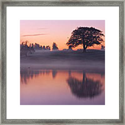 Reflections In A Lake At Dawn / Maynooth Framed Print by Barry O Carroll