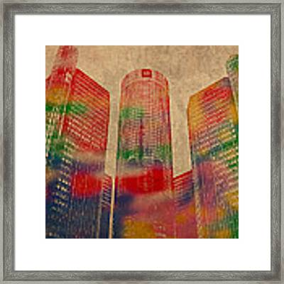 Renaissance Center Iconic Buildings Of Detroit Watercolor On Worn Canvas Series Number 2 Framed Print