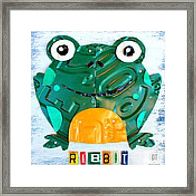 Ribbit The Frog License Plate Art Framed Print