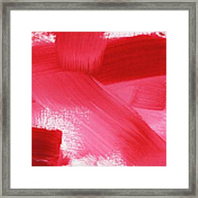 Rouge 2- Horizontal Abstract Painting Framed Print by Linda Woods