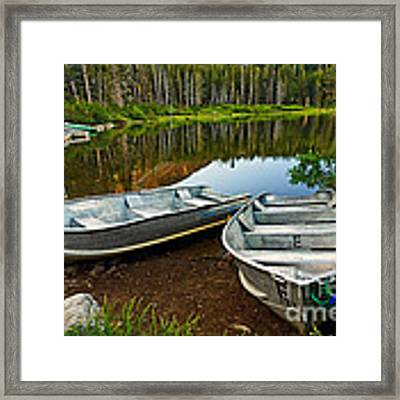 Row Boats Lining A Lake In Mammoth Lakes California Framed Print