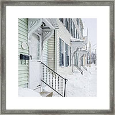 Row Houses On A Snowy Day Framed Print by Edward Fielding
