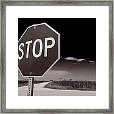 Rural Stop Sign Bw Framed Print by Steve Gadomski