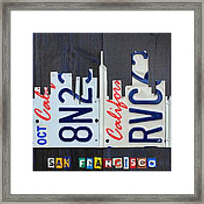 San Francisco California Skyline License Plate Art Framed Print