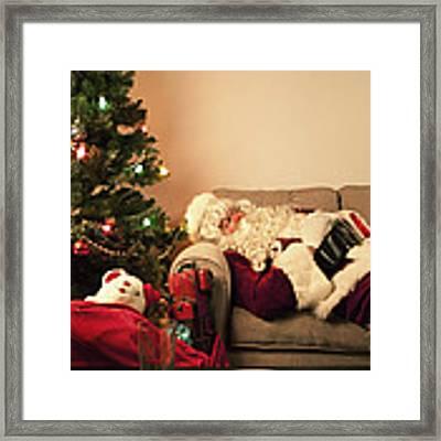 Santa Takes A Nap Framed Print