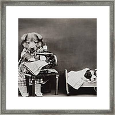 Sewing Baby Clothes Framed Print by Aged Pixel