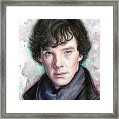 Sherlock Holmes Portrait Benedict Cumberbatch Framed Print