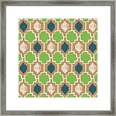 Sky And Sea Tile Pattern Framed Print